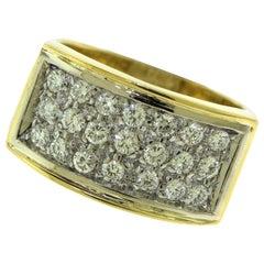 Vintage 3-Row Diamond Rectangular Top 18 Karat Yellow Gold Cocktail Ring