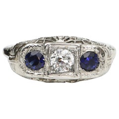Vintage 3-Stone Diamond and Sapphire Platinum Filigree Art Deco Ring