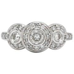 Vintage 3-Stone Diamond Ring Trinity Pave Triple Halo 14 Karat White Gold
