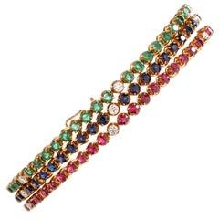 Vintage 3-Strand Diamond Emerald Sapphire Ruby 18 Karat Line Bracelet