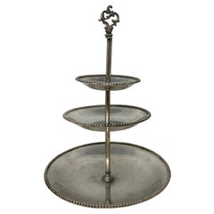 Vintage 3-Tiered Hotel Silver Biscuit Stand