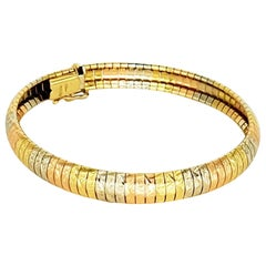 Vintage 3-Tone Woven Snake Design 18 Karat Bracelet