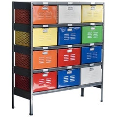 Vintage 3 x 4 Locker Basket Unit, Refinished in Multi-Color