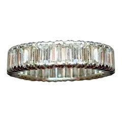 Vintage 3.25 Carat G VS Diamond Baguette Platinum Eternity Band Ring