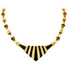 Vintage 3.05 Carat Diamond Onyx 18 Karat Gold Pointed Collar Necklace