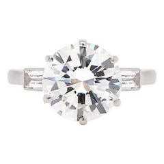Vintage 3.14 Carat H SI2 Round Brilliant Cut Diamond Platinum Engagement Ring