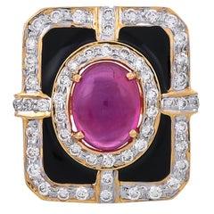 3.17 Carat Glass Fill Ruby Diamond Black Enamel 18 Karat Yellow Gold Ring