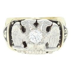 Vintage 32nd Degree Scottish Rite Ring, 14K Gold and Platinum Masonic Dia .42ct