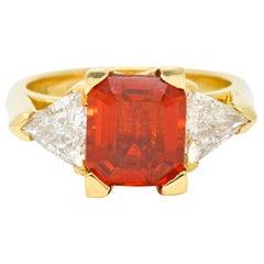 Vintage 3.40 Carat Mexican Fire Opal Diamond 18 Karat Gold Three-Stone Ring