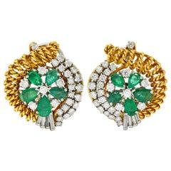 Vintage 3.50 Carat Diamond Emerald 18 Karat Gold Platinum Floral Clip Earrings