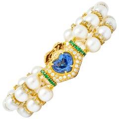 Vintage 35.50 Carat Sapphire Emerald Diamond Pearl 18 Karat Gold Heart Bracelet