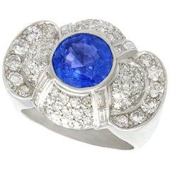 Vintage 3.57 Carat Sapphire 2.37 Carat Diamond Platinum Cocktail Ring
