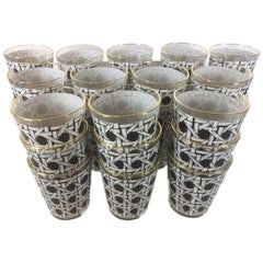 Vintage, 36 Black and White Cane Pattern Double Old Fashioned Glasses & Ice Bowl