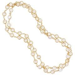 """Vintage 36"""" Swarovski Crystal Gold Bezel Station Necklace By Monet, 1980s"""