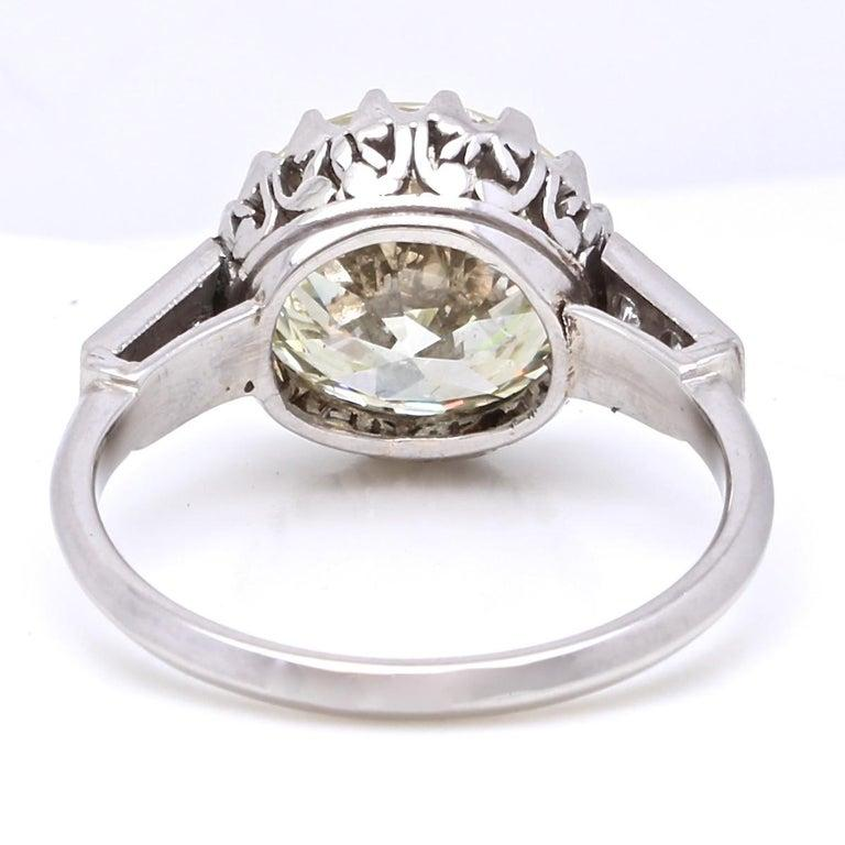 Contemporary Vintage 3.67 Carat Round Cut Diamond Platinum Engagement Ring