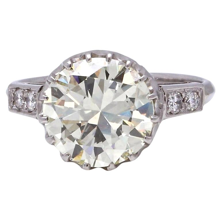 Vintage 3.67 Carat Round Cut Diamond Platinum Engagement Ring