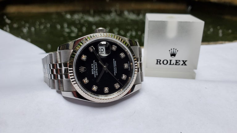 Round Cut Vintage Rolex Datejust, Black Diamond Dial, 18 Karat Bezel on Jubilee Bracelet For Sale