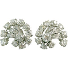 Vintage 3.74 Carat Old European Cut Diamond Earrings, 1950s-1960s Cluster Stud