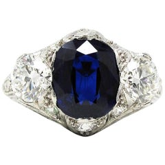 Vintage 3.75 Carat Total Unheated Sapphire GIA and Diamond Ring in Platinum