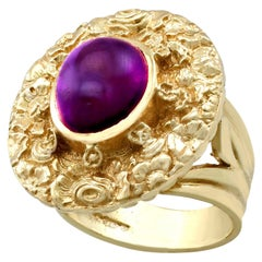 Vintage 3.77 Carat Amethyst and Yellow Gold Cocktail Ring