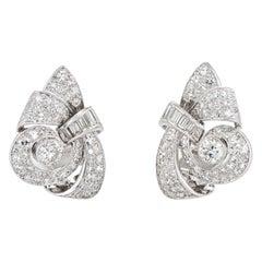 Vintage 3ct Diamond Earrings 1950s Midcentury Platinum Scrolled Clips Jewelry