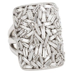 Vintage 3ct Diamond Ring Cluster 18k White Gold Square Cocktail Estate Jewelry