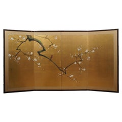 Vintage 4 Panel Gold Japanese Silk Byobu Folding Room Screen Wall Art Bird