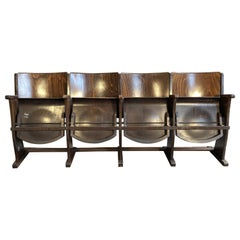 Vintage 4-Seat Cinema Bench From Ton, 1950s