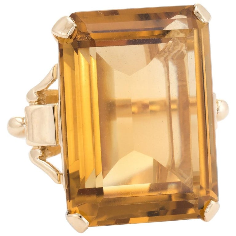 f7bb140857450 Vintage 40ct Citrine Ring Emerald Cut 14k Yellow Gold Estate Fine Jewelry  Pinky