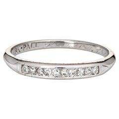 Vintage 40s Diamond Wedding Band 18k Palladium Estate Ring Jewelry