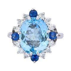 Vintage 4.14 Carat Aquamarine Diamond Sapphire 18 Karat White Gold Cluster Ring