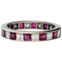 Vintage 4.14 Carat Asscher Cut Diamond and Ruby Platinum Eternity Band