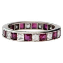 Vintage 4.14 Carat Asscher Cut Diamond and Ruby Platinum Eternity Band