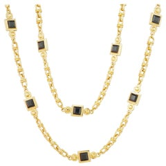 """Vintage 42"""" Gilt & Faceted Onyx Heavy Chain Station Necklace by St. John, 1980s"""