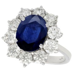 Vintage 4.29 Carat Sapphire and 1.80 Carat Diamond White Gold Cluster Ring