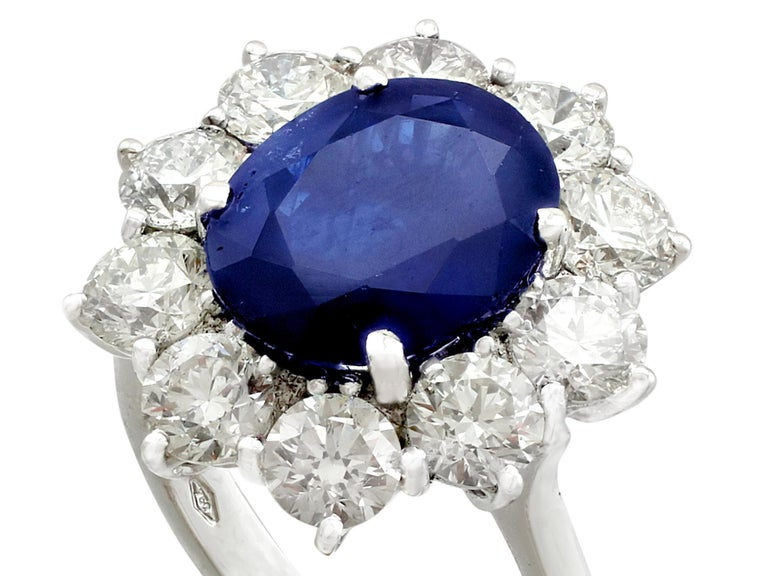 Retro Vintage 4.29Ct Sapphire and 1.80Ct Diamond White Gold Cluster Ring  For Sale