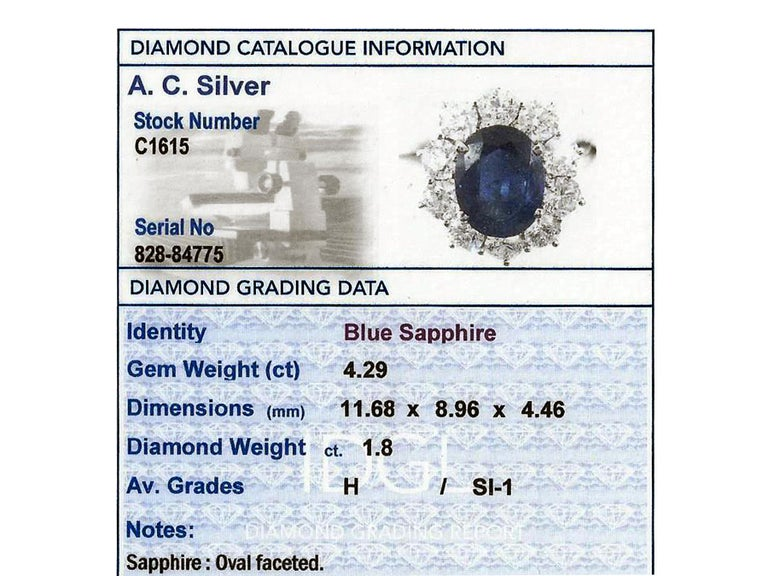 Women's Vintage 4.29Ct Sapphire and 1.80Ct Diamond White Gold Cluster Ring  For Sale