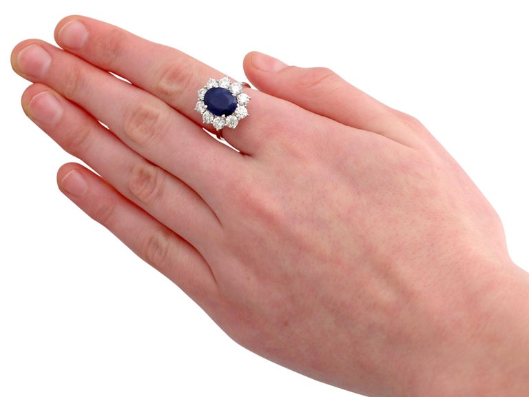 Vintage 4.29Ct Sapphire and 1.80Ct Diamond White Gold Cluster Ring  For Sale 1