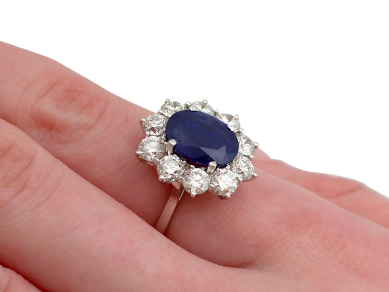 Vintage 4.29Ct Sapphire and 1.80Ct Diamond White Gold Cluster Ring  For Sale 2