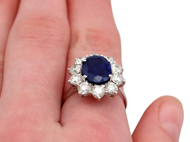 Vintage 4.29Ct Sapphire and 1.80Ct Diamond White Gold Cluster Ring  For Sale 3
