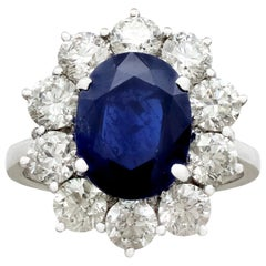 Vintage 4.29Ct Sapphire and 1.80Ct Diamond White Gold Cluster Ring