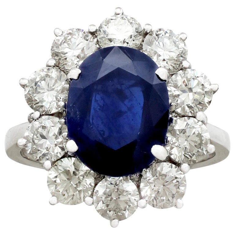 Vintage 4.29Ct Sapphire and 1.80Ct Diamond White Gold Cluster Ring  For Sale