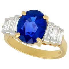 Vintage 4.59 Carat Sapphire and 1.02 Carat Diamond Yellow Gold Cocktail Ring