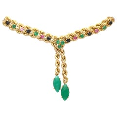 Vintage 4.5Ct Ruby, 4.18Ct Sapphire and 9.02Ct Chrysoprase Yellow Gold Necklace