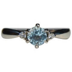 Vintage .46 Carat Aquamarine Diamond Platinum Engagement Ring