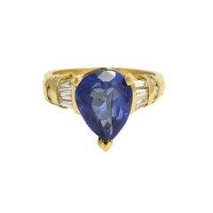 Vintage 4.85ct Pear Cut Tanzanite Diamond Solitaire Ring