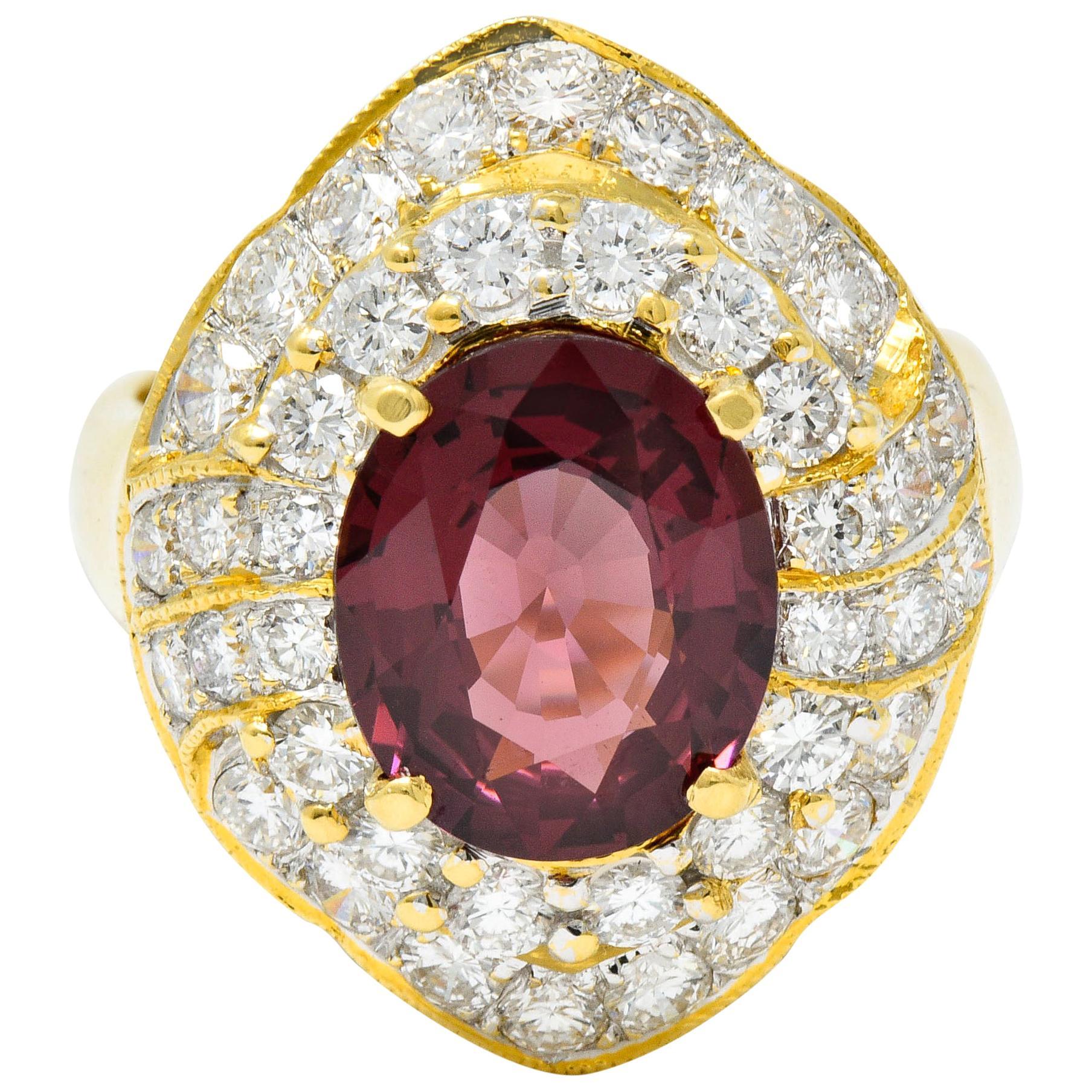 Vintage 4.88 Carat No Heat Spinel Diamond 18 Karat Gold Cluster Ring GIA