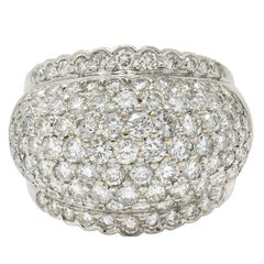 Vintage 4.90 Carat Pave Diamond 18 Karat White Gold Bombe Band Ring