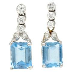 Vintage 4.95 Carats Aquamarine Diamond Platinum Drop Earrings