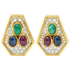 Vintage 4.97 Carat Diamond Sapphire Ruby Emerald 18 Karat Two-Tone Gold Ear-Clip